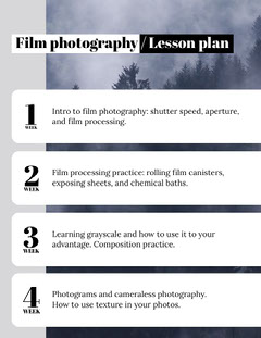 Film Photography School Lesson Plan Photography
