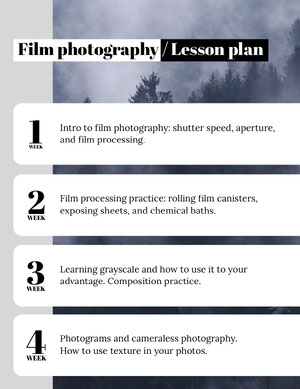 Film Photography School Lesson Plan Horario de clase