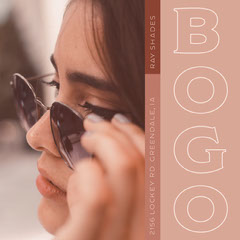Brown Sunglasses Sale Instagram Square Ad with Woman Bogo