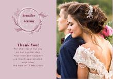pink foliage wedding thank you card  Wedding Thank You  Card