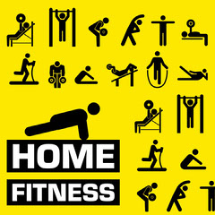 Yellow & Black Home Fitness Instagram Square Gym