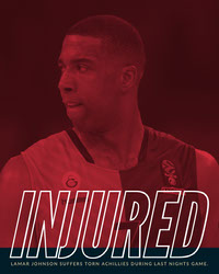 Red and Blue Lamar Johnson Injured Announcement Instagram Portrait Basketball