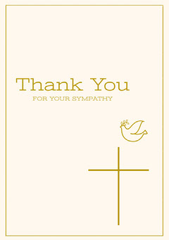 Gold and White Thank You for Attending Funeral Card Bird
