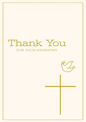 Gold and White Thank You for Attending Funeral Card Sympatikort