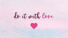 Pink and Blue Love Sentence Wallpaper Background