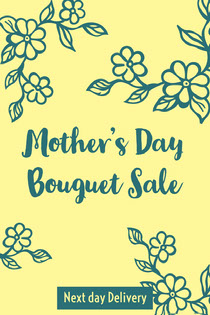 Yellow and Blue Mother's Day Bouguet Sale Card Mother's Day Card