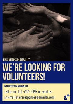 Blue and Yellow Volunteering Flyer with Hands Volunteer