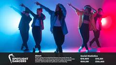 Red Blue Gradient Spotlight dancers Media Kit Dance Flyer