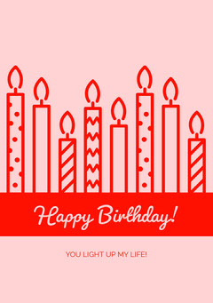 Pink and Red Happy Birthday Card with Candles Birthday