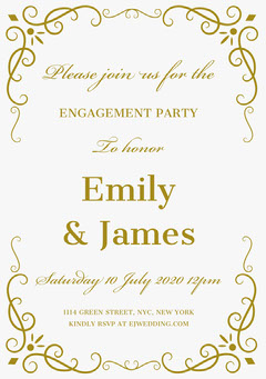 Gold Ornate Frame Engagement Party Invitation Card Frame