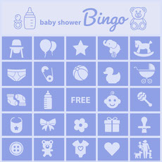Blue Illustrated Baby Shower Bingo Card doccia per bambini