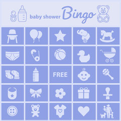 Blue Illustrated Baby Shower Bingo Card Baby's First Year