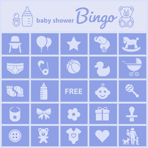 Blue Illustrated Baby Shower Bingo Card ビンゴカード