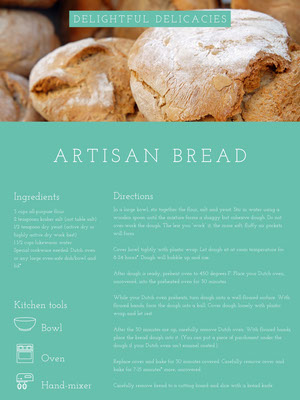 Turquoise Bread Recipe Card Resepti