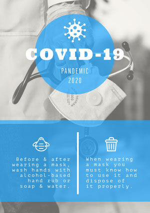 Blue and White Pandemic Advice Flyer Infographic Examples