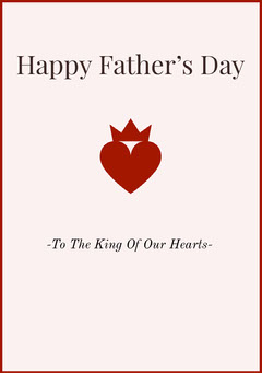 Red Happy Fathers Day Card with Heart Heart