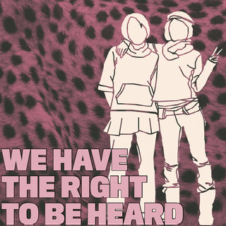 WE HAVE THE RIGHT TO BE HEARD Tekst op foto's