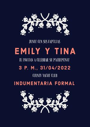 blue and white floral wedding cards  Invitación de boda