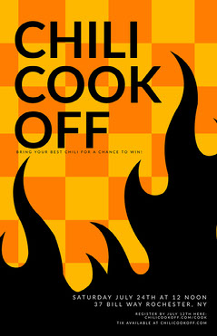 Orange Checkerboard Chili Cook-Off Flyer Cooking