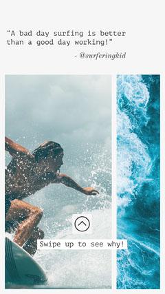Surfer blogger Instagram Story Ocean
