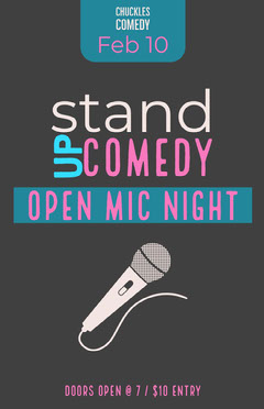 Black, Blue and Purple Stand Up Comedy Open Mic Poster Comedy