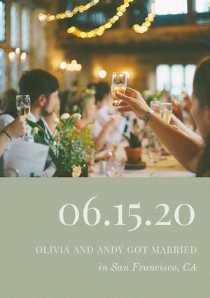 Pale Green Wedding Announcement Card with Photo of Champagne Toast at Party 結婚通知