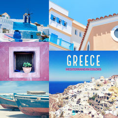 Blue and Purple Greece Travel and Tourism Square Instagram Graphic Travel Agency