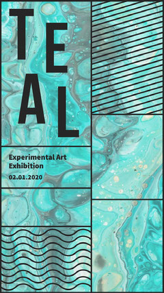Teal Abstract Experimental Art Exhibition Instagram Story Art Exhibition