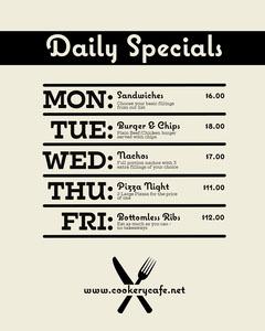 Black and Cream Daily Special Menu Instagram Portrait Restaurants