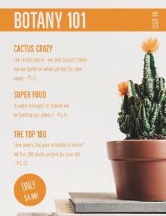Orange Botany Magazine Cover with Cactus Plants