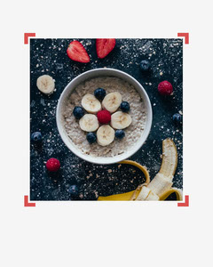 Simple red and white Porridge image 'Start the day healthy' Instagram Portrait Portrait