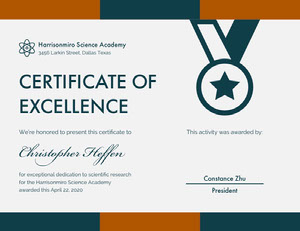 Brown and Blue Scientific Research Excellence Certificate Certificato di diploma