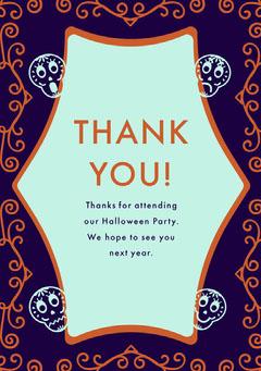 Purple Sugar Skulls Halloween Party Thank You Card Halloween Party Thank you Card