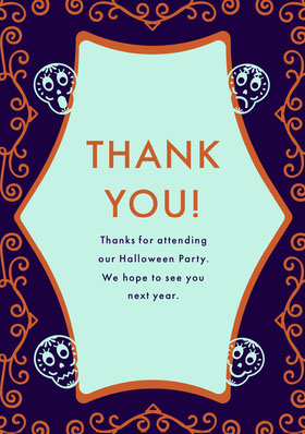 Purple Sugar Skulls Halloween Party Thank You Card Thank You Card