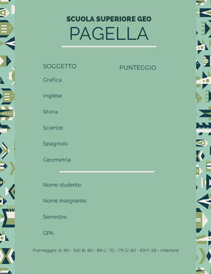 mint green patterned report cards  Rapporto