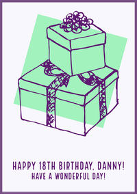 White, Green and Purple Birthday Wishes Card cumpleaños