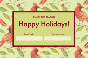 Red and Green Illustrated Happy Holidays Coupon with Birds Bon