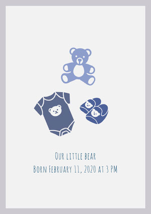 Blue and White Birth Announcement Birth Announcement