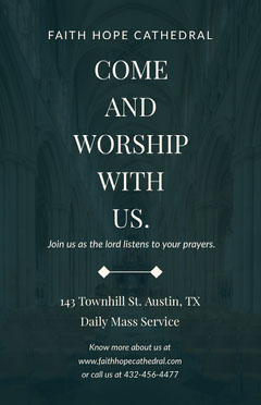 Black Daily Mass Worship Church Flyer Sunday