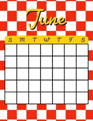 50s Blank  Calendar Calendario