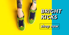 Yellow and Blue Shoes Shop Advertisement Shoes