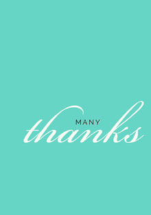 Cyan Calligraphy Thank You Greeting Card Tarjetas