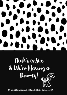 Black and White Spotted Birthday Party Invitation Birthday Invitation (Boy)