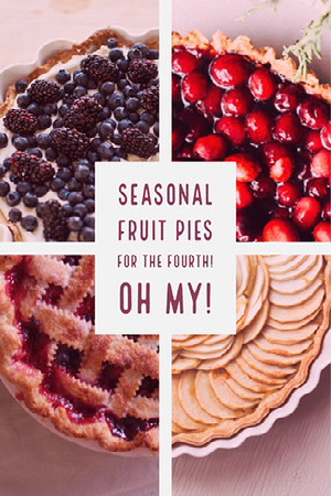 Red and Gold Warm Toned Pie Collage Pinterest Photo Grid