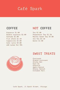 Red and White Café Spark Menu Cafe