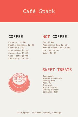 Red and White Café Spark Menu Cafe Menu