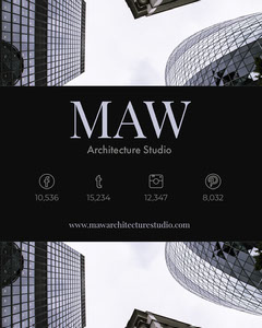 Light Blue and Black Architecture Studio Media Kit with Modern Buildings Architecture