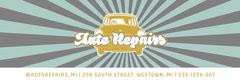 Blue Stripe Auto Repair Shop Twitter Banner Workshop
