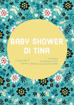 floral patterned baby shower invitations  Invito per baby shower