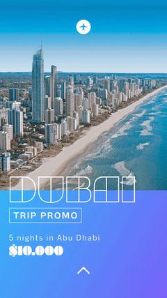 Blue Gradient Dubai Trip Tour Instagram Story Vacation